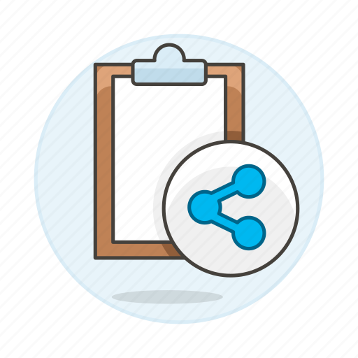 clipboard, paper, share, task, work icon