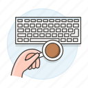 coffee, desk, keyboard, top, work, workspace icon