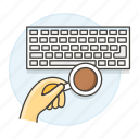 1, coffee, desk, keyboard, top, work, workspace icon