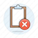 clipboard, delete, paper, remove, task, work icon