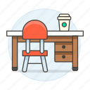 chair, coffee, desk, drawer, work, workspace icon