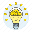 1, activity, brain, bulb, ideas, light, lightbulb, work icon
