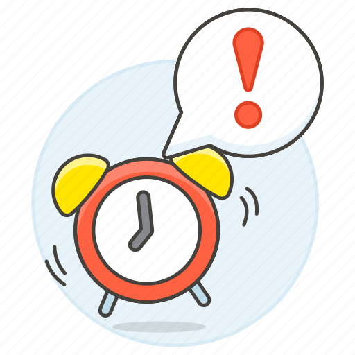 alarm, alert, bubble, clock, deadline, exclamation, mark, over, sound, speech, time, work, workload icon