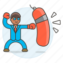 bag, box, exercise, glove, male, motivation, punching, sack, suit, work, workout icon
