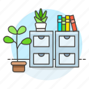 books, cabinet, drawer, file, furniture, office, plant, pot, work icon