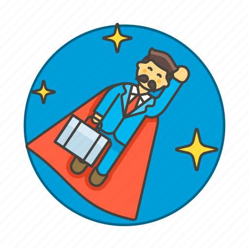 career, climb, fly, growth, male, motivation, night, promotion, star, suit, superman, work icon