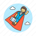 career, day, female, fly, growth, motivation, promotion, suit, superman, work icon