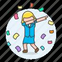 career, climb, dab, development, female, growth, ladder, motivation, promotion, work icon