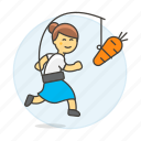 carrot, drive, extrinsic, female, metaphor, motivation, person, reward, run, stick, work icon