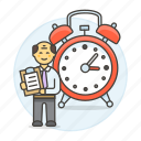 alarm, clipboard, clock, deadline, efficient, hours, male, organized, responsible, schedule, work icon