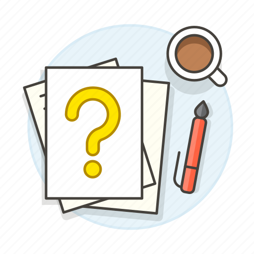 coffee, decisions, document, documents, focus, hesitant, mark, paper, pen, question, resolution, work icon