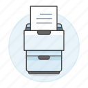 archive, document, drawer, file, furniture, office, paper, white, work icon