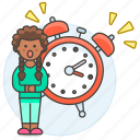 alarm, clock, deadline, delay, expire, female, late, sleepless, time, work, workload icon