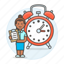 alarm, clipboard, clock, deadline, efficient, female, hours, organized, responsible, schedule, work icon