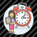 alarm, efficient, organized, responsible, hours, deadline, schedule, clipboard, clock, work, female icon