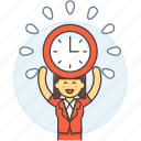 clock, deadline, employee, energized, female, half, punctuality, work, workload icon