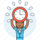 1, clock, deadline, employee, energized, female, half, punctuality, work, workload icon