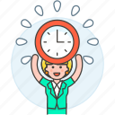2, clock, deadline, employee, energized, female, half, punctuality, work, workload icon