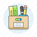 archive, box, document, file, folder, office, supplies, work icon