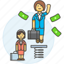 2, boost, development, female, growth, motivation, pay, promotion, rise, spring, work icon