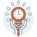 clock, deadline, employee, energized, half, male, punctuality, work, workload icon