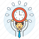 1, clock, deadline, employee, energized, half, male, punctuality, work, workload icon