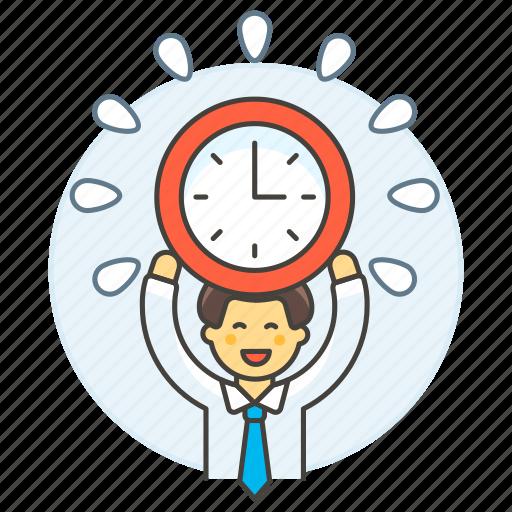 1, clock, deadline, employee, energized, half, male, punctuality, work, workload icon