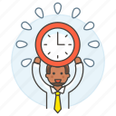 2, clock, deadline, employee, energized, half, male, punctuality, work, workload icon