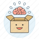 box, brain, happy, outside, smile, think, work icon