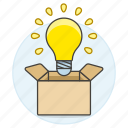 box, bulb, idea, light, outside, think, work icon