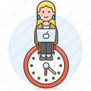 clock, deadline, efficient, female, hours, laptop, mac, responsible, schedule, sit, work icon
