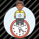clock, deadline, efficient, hours, laptop, mac, male, responsible, schedule, sit, work icon