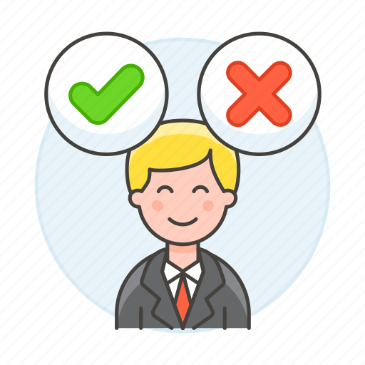 1, checkmark, conclusion, decision, decisions, employee, focus, male, mind, no, resolution, work, yes icon