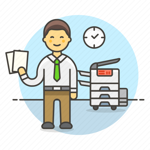 2, copy, document, employee, male, office, photocopy, report, work icon
