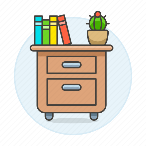 archive, book, cactus, drawer, file, furniture, office, paper, pot, work icon