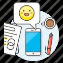 coffee, decisions, emoji, focus, happy, message, paper, pen, phone, smile, work icon
