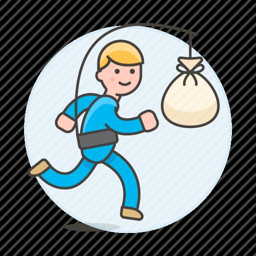 bag, bank, cash, drive, extrinsic, male, metaphor, money, motivation, person, reward, run, stick, work icon