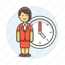 2, bonus, clock, deadline, extra, female, hours, overtime, stand, work, workload icon