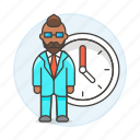 bonus, clock, deadline, extra, hours, male, overtime, stand, work, workload icon
