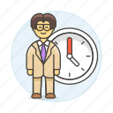 2, bonus, clock, deadline, extra, hours, male, overtime, stand, work, workload icon