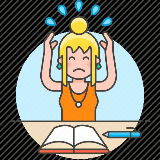 1, deadline, disorganized, employee, female, headache, incomplete, late, stress, work, workload icon