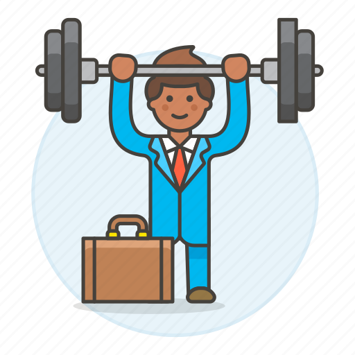 barbell, briefcase, exercise, male, motivation, strong, suit, work, workout icon