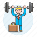 1, barbell, briefcase, exercise, male, motivation, strong, suit, work, workout icon