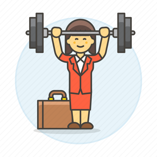 barbell, briefcase, exercise, female, motivation, strong, suit, work, workout icon
