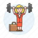 1, barbell, briefcase, exercise, female, motivation, strong, suit, work, workout icon