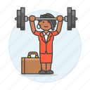 2, barbell, briefcase, exercise, female, motivation, strong, suit, work, workout icon