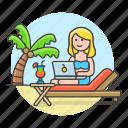 anywhere, beach, commute, digital, drink, female, freelance, job, nomad, travel, work icon