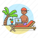 anywhere, beach, commute, digital, drink, freelance, job, male, nomad, travel, work icon
