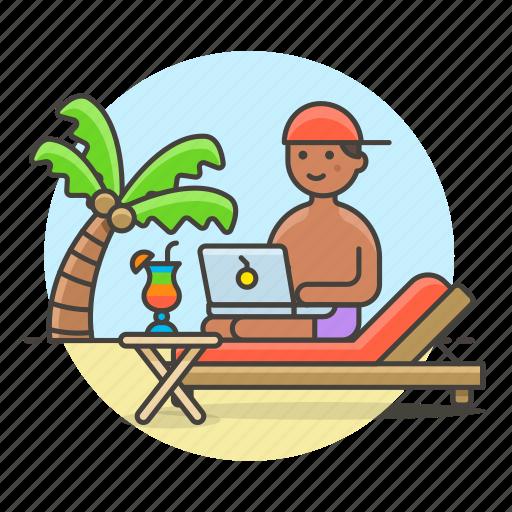 anywhere, beach, commute, digital, drink, freelance, job, male, nomad, travel, work icon
