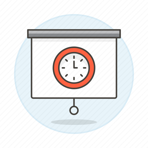 clock, presentation, projector, schedule, screen, time, work icon
